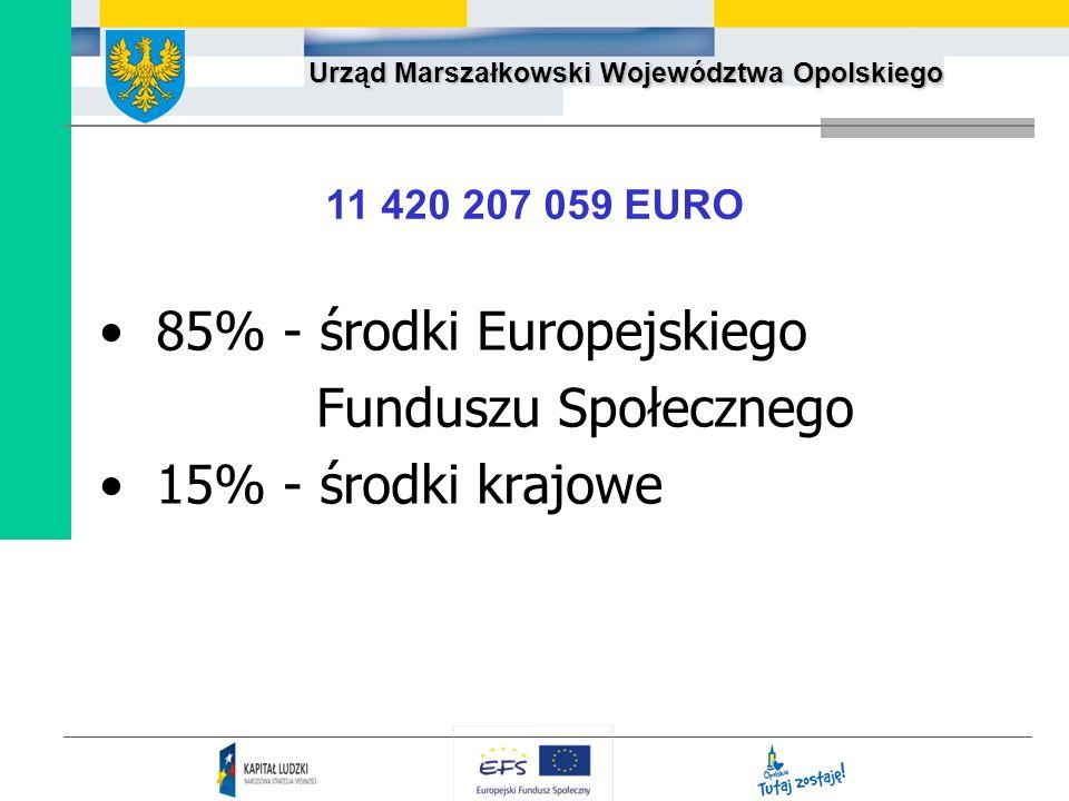 Urząd Marszałkowski Województwa Opolskiego 85% - środki Europejskiego Funduszu Społecznego 15% - środki krajowe 11 420 207 059 EURO