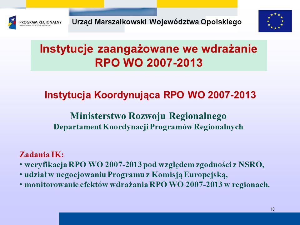 Urząd Marszałkowski Województwa Opolskiego 10 Instytucja Koordynująca RPO WO 2007-2013 Ministerstwo Rozwoju Regionalnego Departament Koordynacji Progr