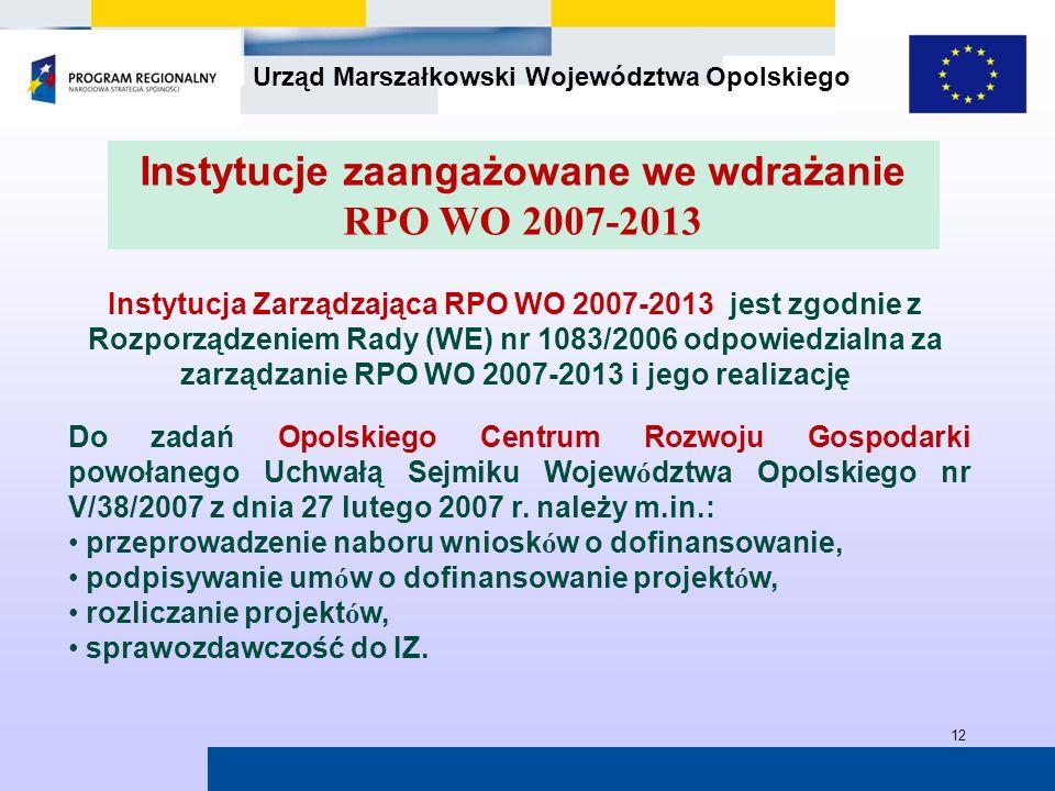 Urząd Marszałkowski Województwa Opolskiego 12 Instytucja Zarządzająca RPO WO 2007-2013 jest zgodnie z Rozporządzeniem Rady (WE) nr 1083/2006 odpowiedz