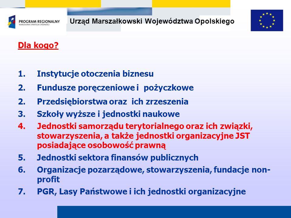 Urząd Marszałkowski Województwa Opolskiego Dla kogo? 1.Instytucje otoczenia biznesu 2.Fundusze poręczeniowe i pożyczkowe 2.Przedsiębiorstwa oraz ich z