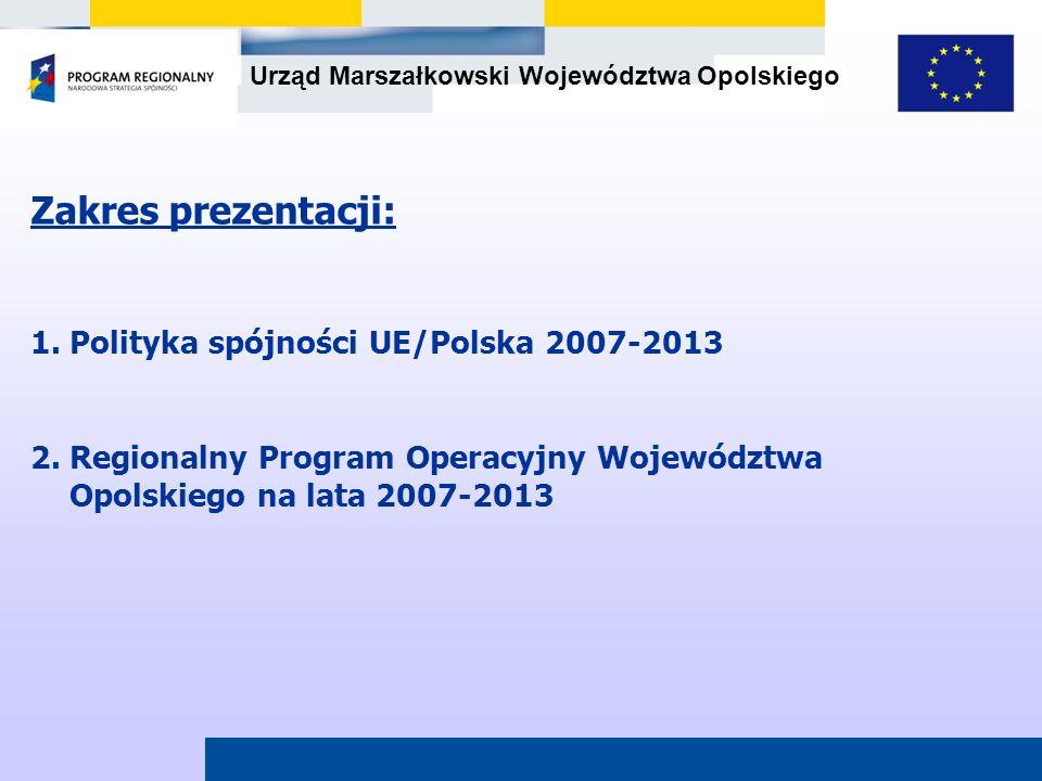Urząd Marszałkowski Województwa Opolskiego Zakres prezentacji: 1. Polityka spójności UE/Polska 2007-2013 2. Regionalny Program Operacyjny Województwa