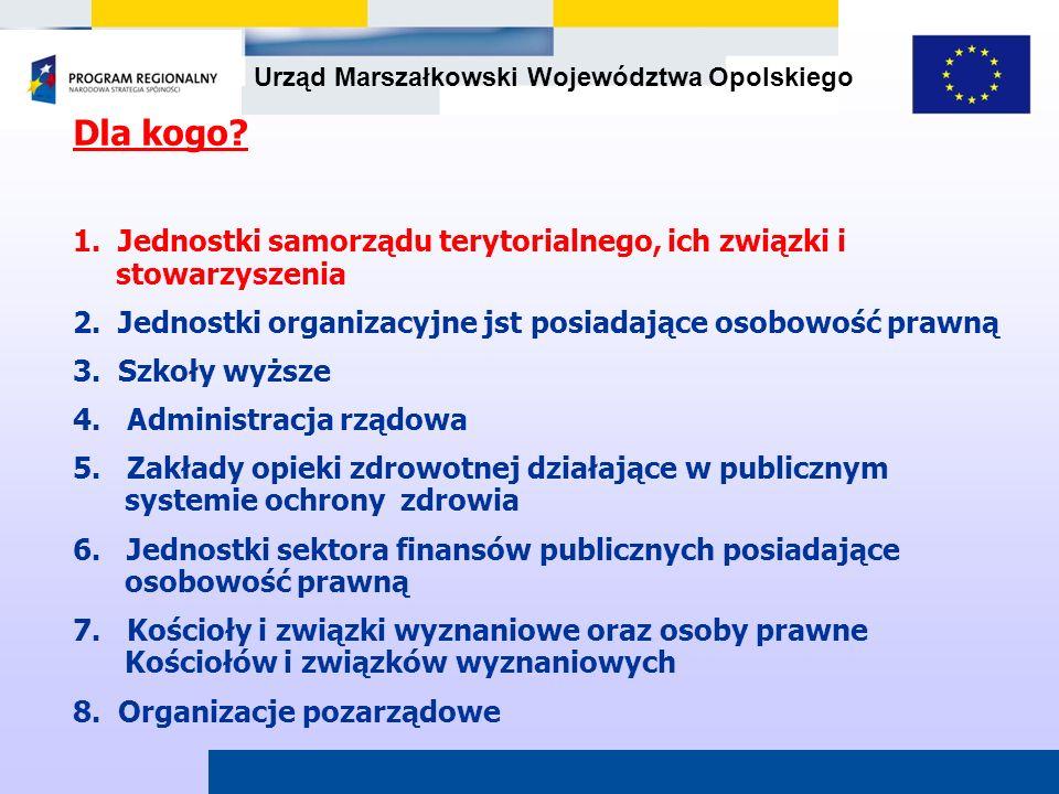 Urząd Marszałkowski Województwa Opolskiego Dla kogo? 1. Jednostki samorządu terytorialnego, ich związki i stowarzyszenia 2. Jednostki organizacyjne js