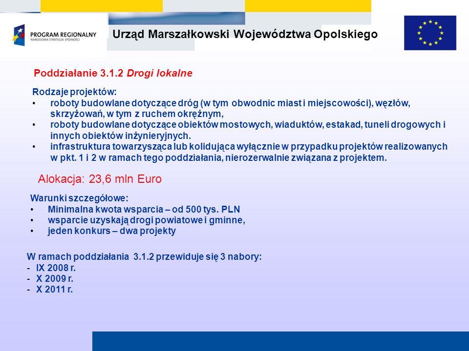 Urząd Marszałkowski Województwa Opolskiego Poddziałanie 3.1.2 Drogi lokalne W ramach poddziałania 3.1.2 przewiduje się 3 nabory: -IX 2008 r. -X 2009 r