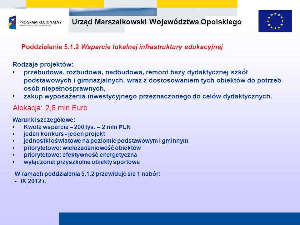Urząd Marszałkowski Województwa Opolskiego Poddziałanie 5.1.2 Wsparcie lokalnej infrastruktury edukacyjnej W ramach poddziałania 5.1.2 przewiduje się
