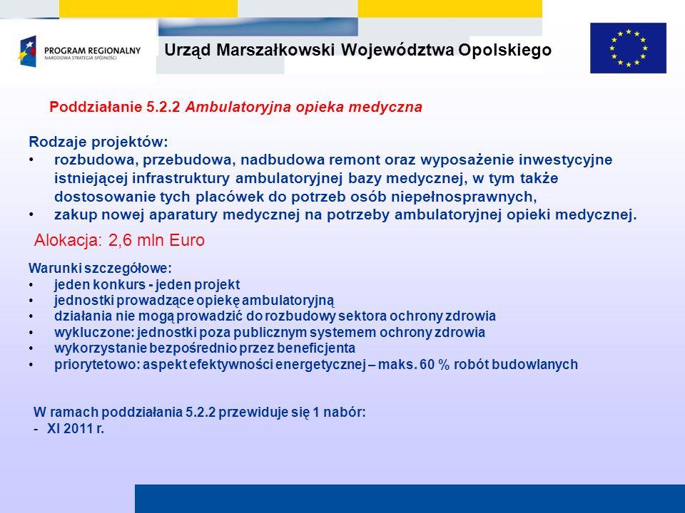 Urząd Marszałkowski Województwa Opolskiego Poddziałanie 5.2.2 Ambulatoryjna opieka medyczna W ramach poddziałania 5.2.2 przewiduje się 1 nabór: -XI 20