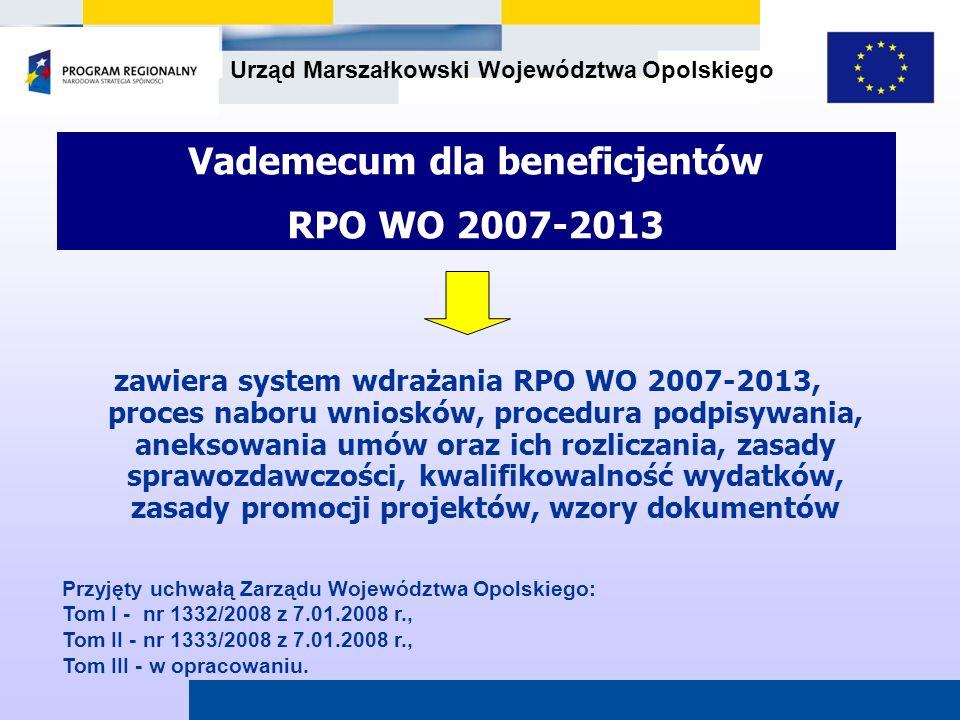 Urząd Marszałkowski Województwa Opolskiego Vademecum dla beneficjentów RPO WO 2007-2013 zawiera system wdrażania RPO WO 2007-2013, proces naboru wnios