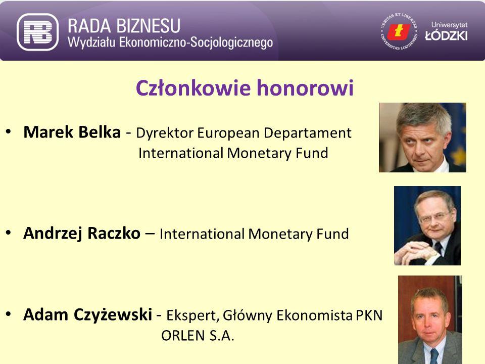 Członkowie honorowi Marek Belka - Dyrektor European Departament International Monetary Fund Andrzej Raczko – International Monetary Fund Adam Czyżewski - Ekspert, Główny Ekonomista PKN ORLEN S.A.