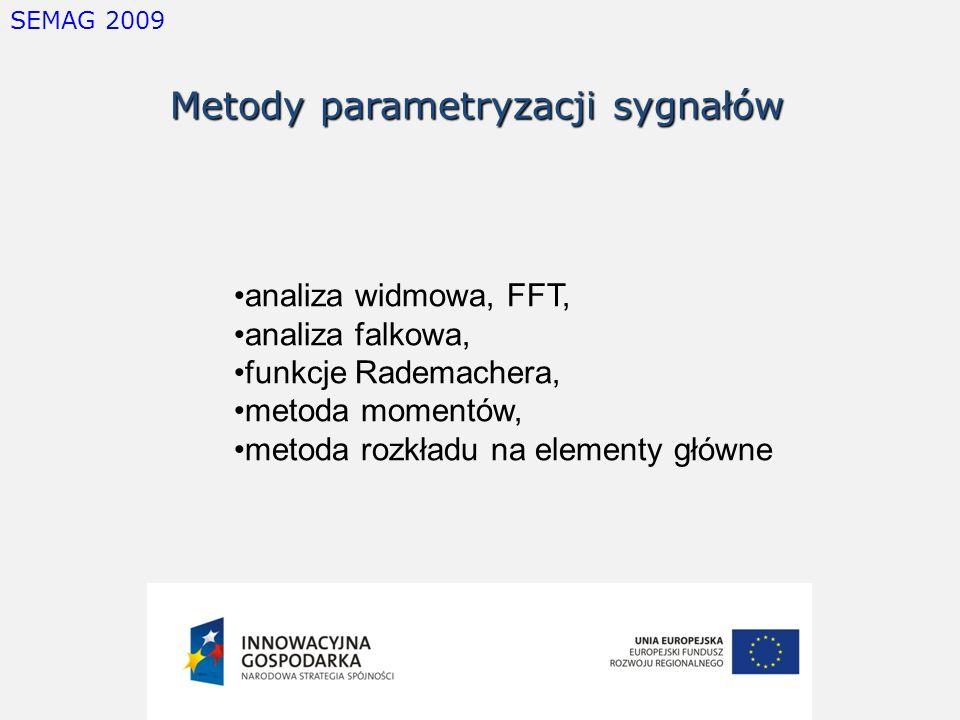 SEMAG 2009 Metody parametryzacji sygnałów analiza widmowa, FFT, analiza falkowa, funkcje Rademachera, metoda momentów, metoda rozkładu na elementy głó