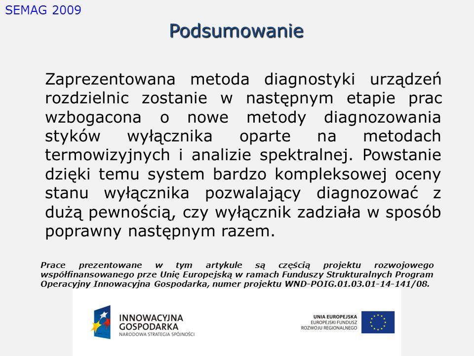 SEMAG 2009Podsumowanie Zaprezentowana metoda diagnostyki urządzeń rozdzielnic zostanie w następnym etapie prac wzbogacona o nowe metody diagnozowania