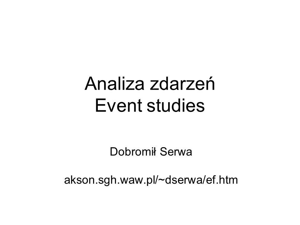 32 Alternatywna metoda analizy zdarzeń Znana zależność funkcyjna między zdarzeniem a badaną zmienną Tylko analizowane okresy zdarzenia Możemy zmierzyć siłę zależności (!!!)