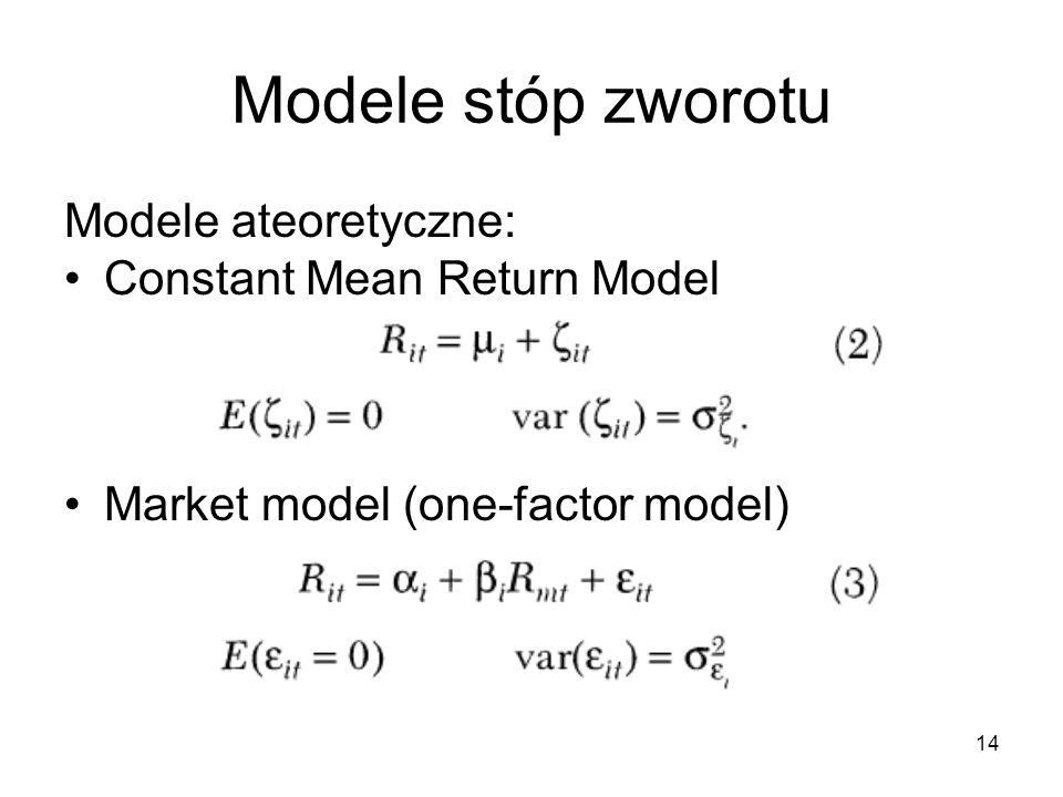 14 Modele stóp zworotu Modele ateoretyczne: Constant Mean Return Model Market model (one-factor model)