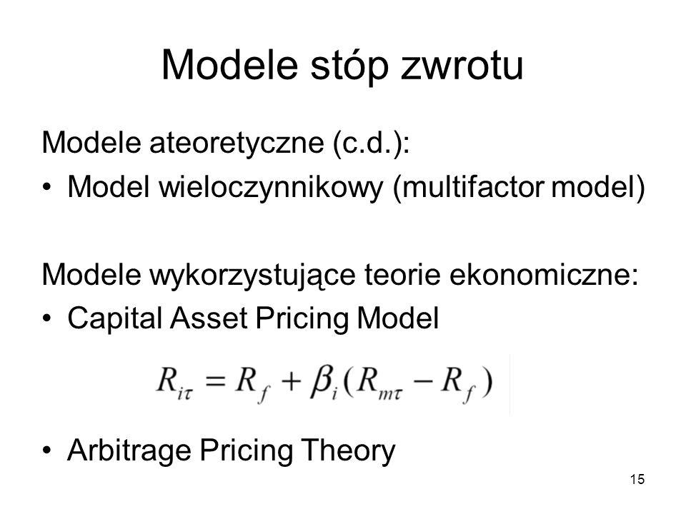 15 Modele stóp zwrotu Modele ateoretyczne (c.d.): Model wieloczynnikowy (multifactor model) Modele wykorzystujące teorie ekonomiczne: Capital Asset Pr