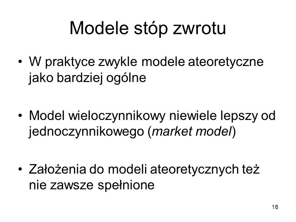 16 Modele stóp zwrotu W praktyce zwykle modele ateoretyczne jako bardziej ogólne Model wieloczynnikowy niewiele lepszy od jednoczynnikowego (market mo