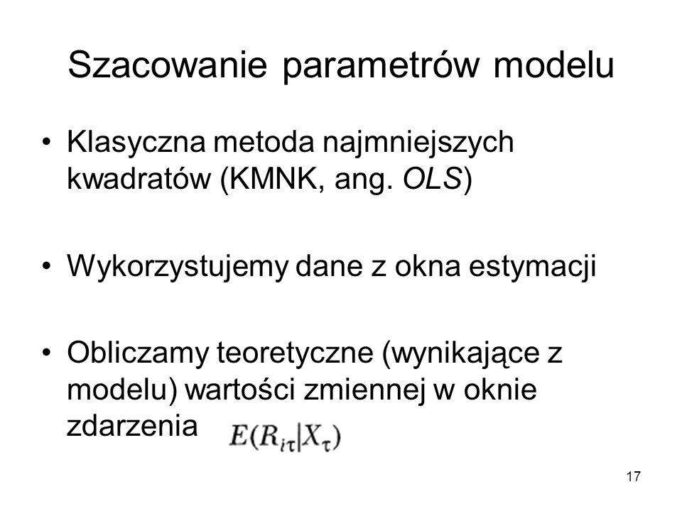 17 Szacowanie parametrów modelu Klasyczna metoda najmniejszych kwadratów (KMNK, ang. OLS) Wykorzystujemy dane z okna estymacji Obliczamy teoretyczne (