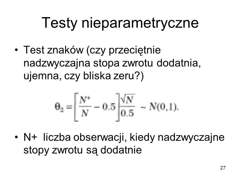 27 Testy nieparametryczne Test znaków (czy przeciętnie nadzwyczajna stopa zwrotu dodatnia, ujemna, czy bliska zeru?) N+ liczba obserwacji, kiedy nadzw