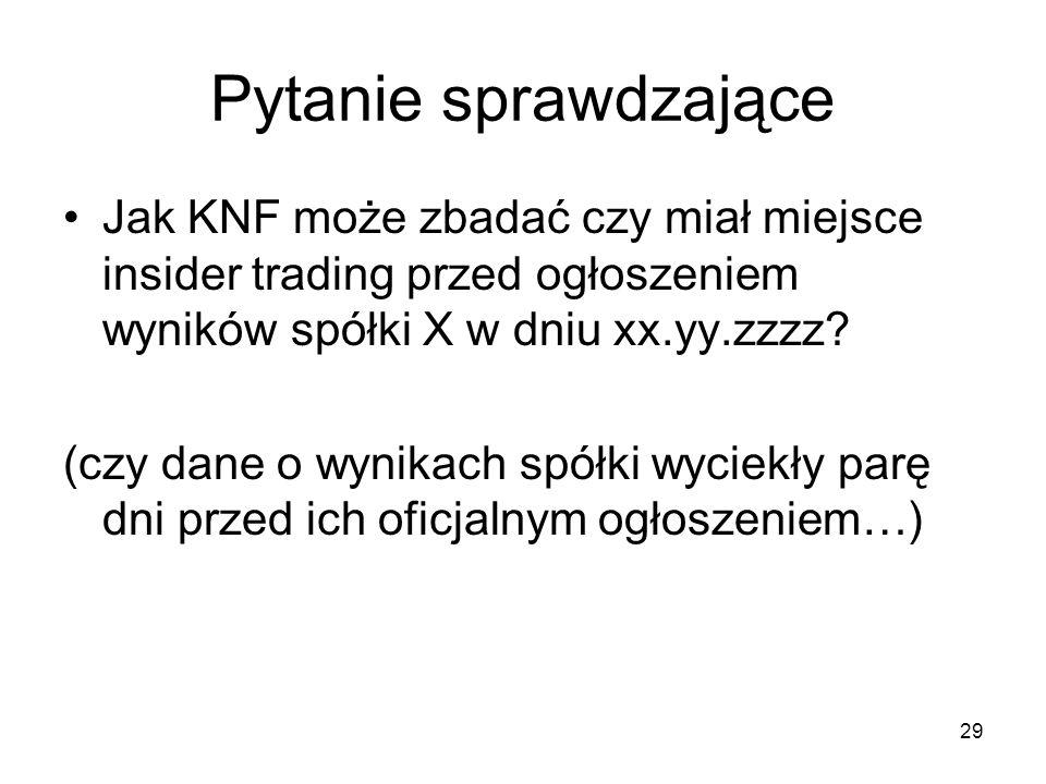 29 Pytanie sprawdzające Jak KNF może zbadać czy miał miejsce insider trading przed ogłoszeniem wyników spółki X w dniu xx.yy.zzzz? (czy dane o wynikac