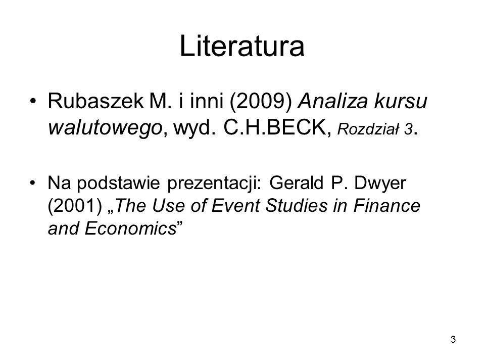 3 Literatura Rubaszek M. i inni (2009) Analiza kursu walutowego, wyd. C.H.BECK, Rozdział 3. Na podstawie prezentacji: Gerald P. Dwyer (2001) The Use o