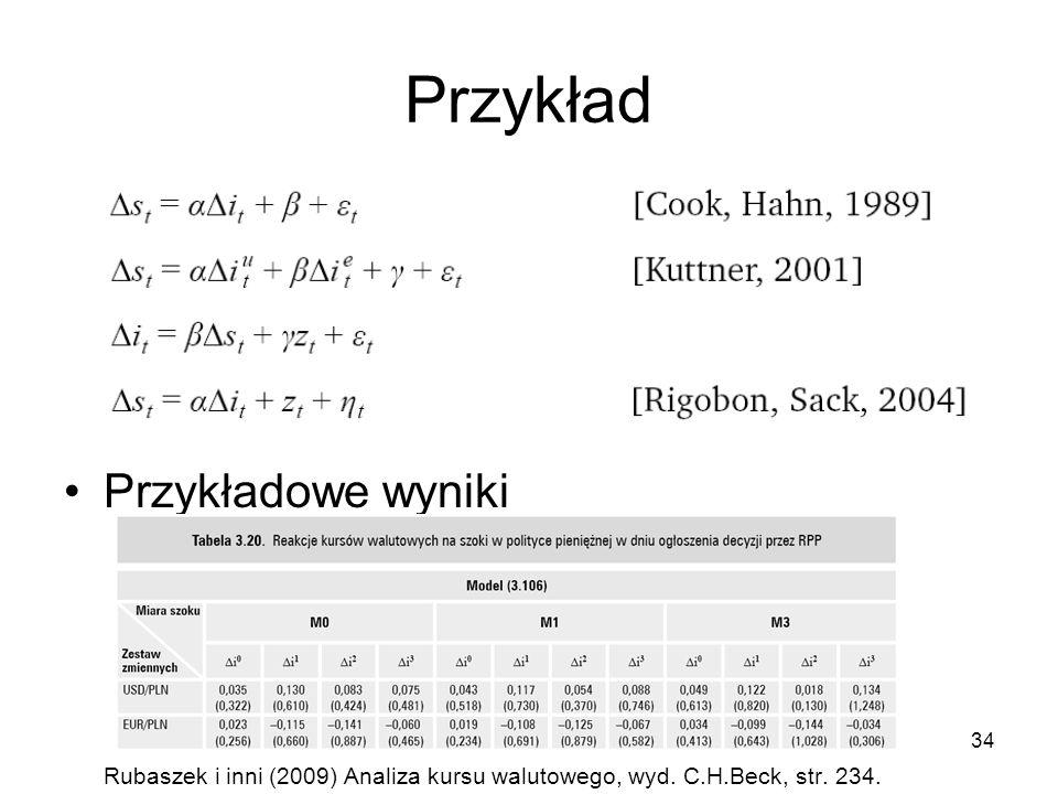 34 Przykład Przykładowe wyniki Rubaszek i inni (2009) Analiza kursu walutowego, wyd. C.H.Beck, str. 234.