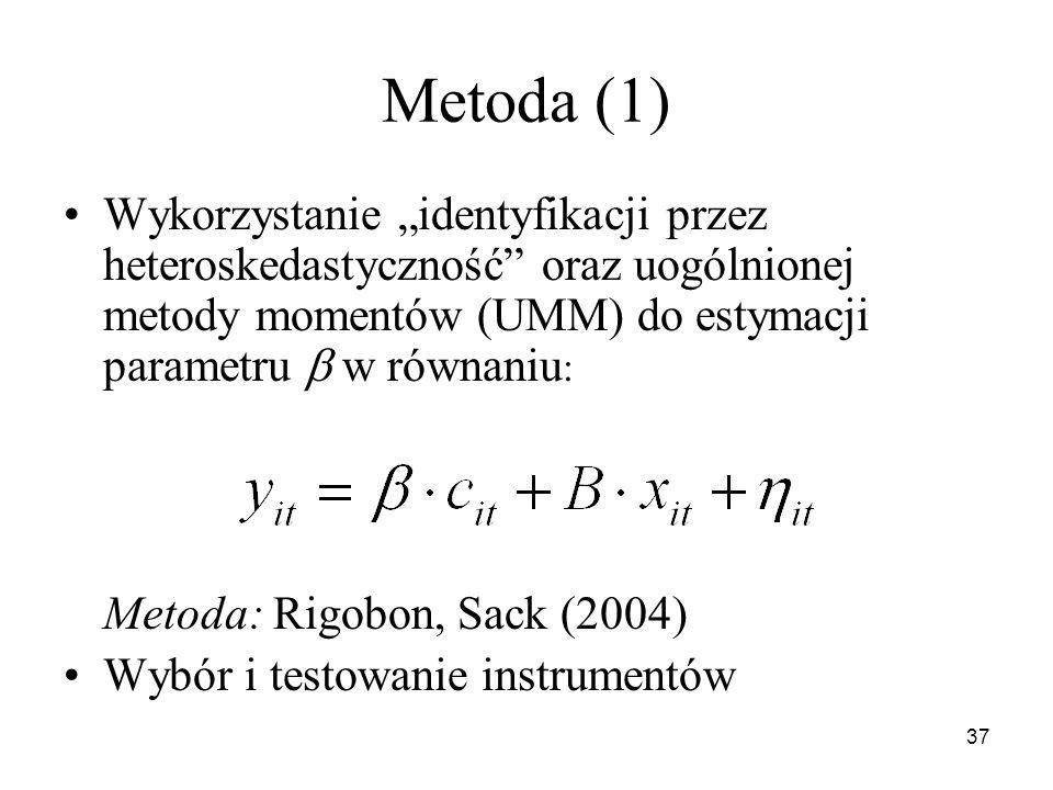37 Metoda (1) Wykorzystanie identyfikacji przez heteroskedastyczność oraz uogólnionej metody momentów (UMM) do estymacji parametru w równaniu : Metoda