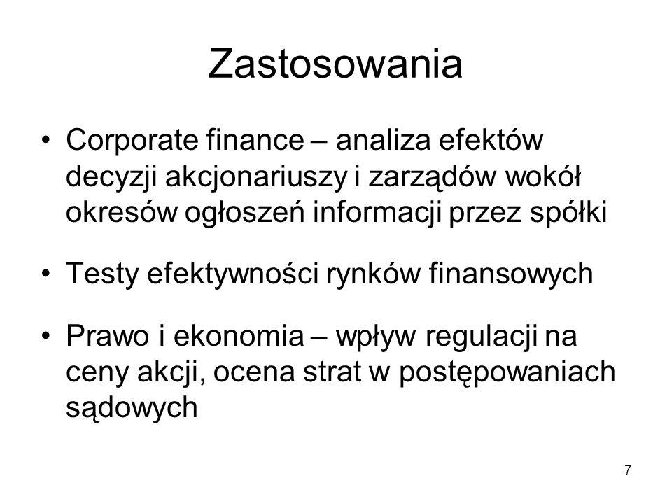 28 Przykład Źródło: Rubaszek i inni (2009) Analiza kursu walutowego, wyd. C.H.Beck, str. 254.