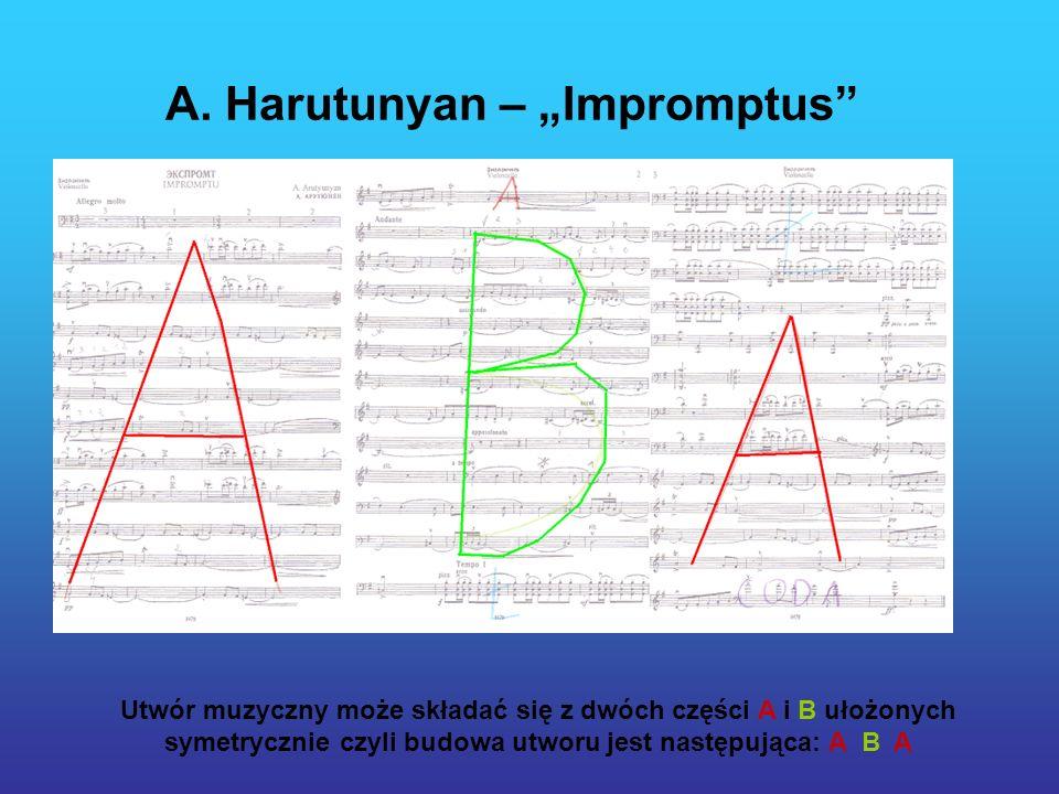 A. Harutunyan – Impromptus Utwór muzyczny może składać się z dwóch części A i B ułożonych symetrycznie czyli budowa utworu jest następująca: A B A
