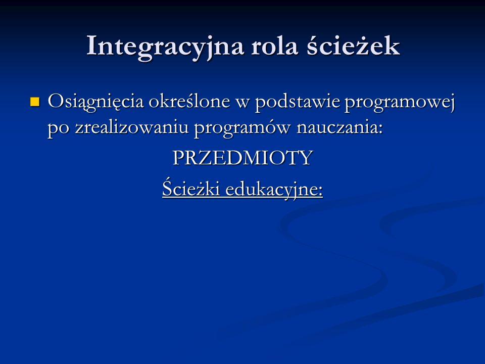 Integracyjna rola ścieżek Osiągnięcia określone w podstawie programowej po zrealizowaniu programów nauczania: Osiągnięcia określone w podstawie progra