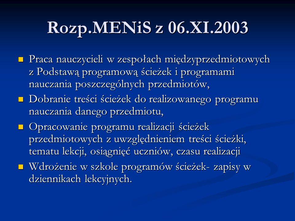 Rozp.MENiS z 06.XI.2003 Praca nauczycieli w zespołach międzyprzedmiotowych z Podstawą programową ścieżek i programami nauczania poszczególnych przedmi