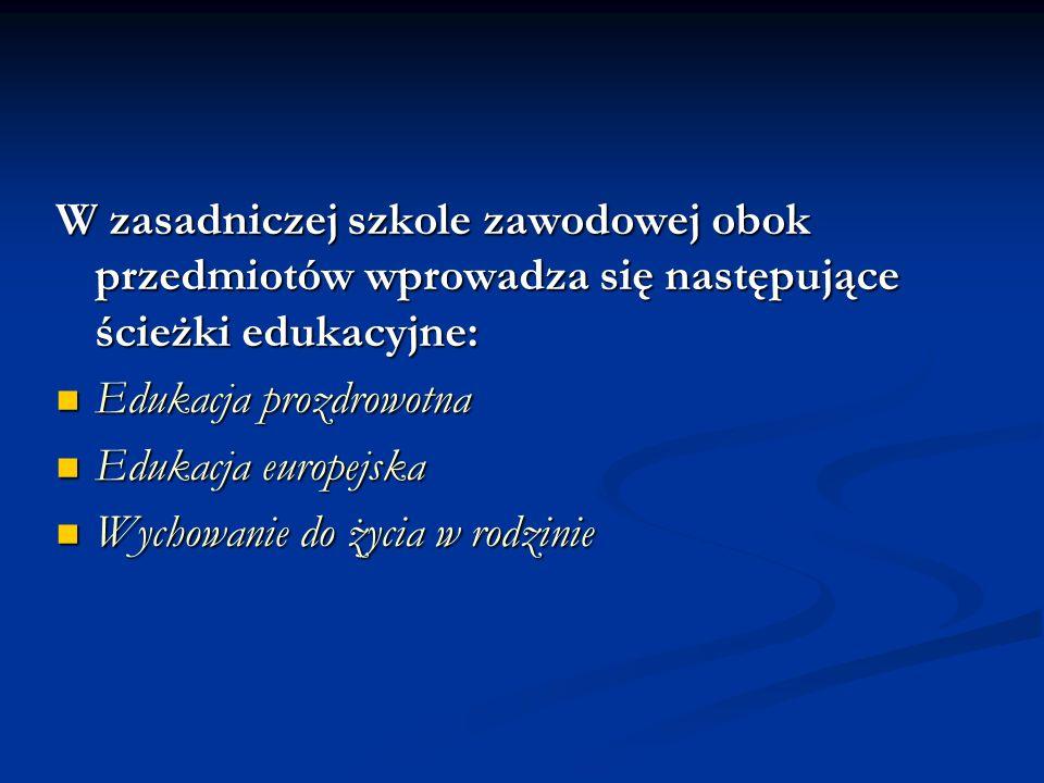 W zasadniczej szkole zawodowej obok przedmiotów wprowadza się następujące ścieżki edukacyjne: Edukacja prozdrowotna Edukacja prozdrowotna Edukacja eur