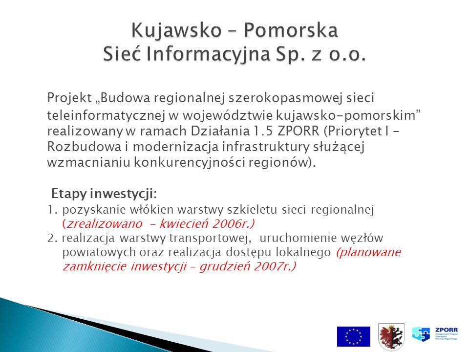 Projekt Budowa regionalnej szerokopasmowej sieci teleinformatycznej w województwie kujawsko-pomorskim realizowany w ramach Działania 1.5 ZPORR (Priory
