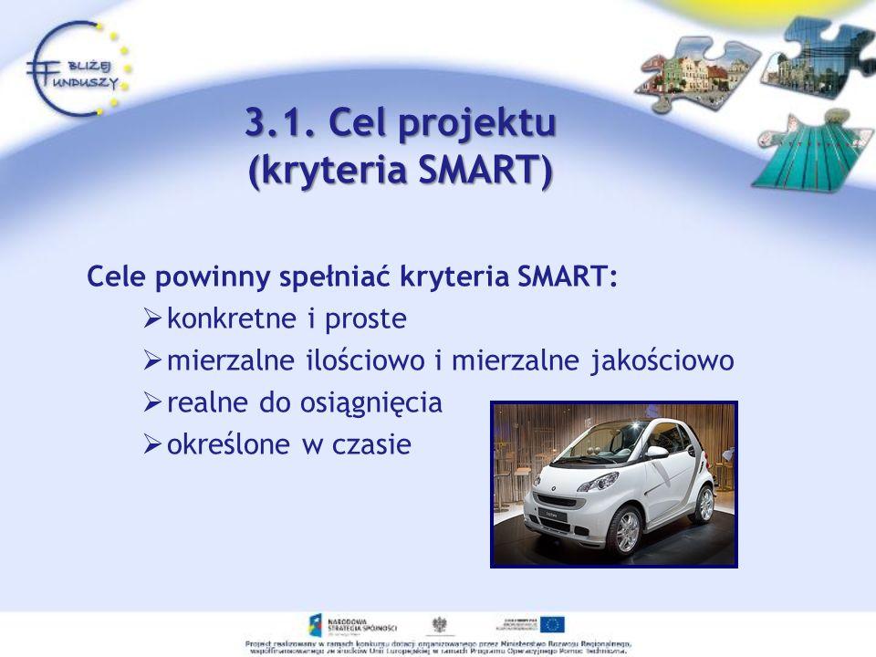 3.1. Cel projektu (kryteria SMART) Cele powinny spełniać kryteria SMART: konkretne i proste mierzalne ilościowo i mierzalne jakościowo realne do osiąg