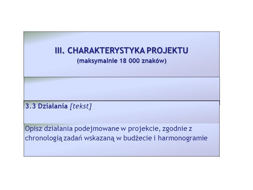 3.3 Działania [tekst] Opisz działania podejmowane w projekcie, zgodnie z chronologią zadań wskazaną w budżecie i harmonogramie III. CHARAKTERYSTYKA PR
