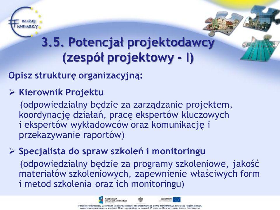 3.5. Potencjał projektodawcy (zespół projektowy - I) Opisz strukturę organizacyjną: Kierownik Projektu (odpowiedzialny będzie za zarządzanie projektem