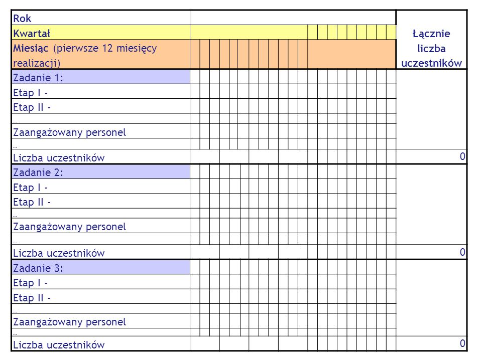 Rok Łącznie liczba uczestników Kwartał Miesiąc (pierwsze 12 miesięcy realizacji) Zadanie 1: Etap I - Etap II - … Zaangażowany personel … Liczba uczest