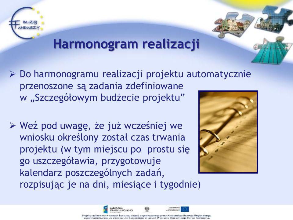 Harmonogram realizacji Do harmonogramu realizacji projektu automatycznie przenoszone są zadania zdefiniowane w Szczegółowym budżecie projektu Weź pod