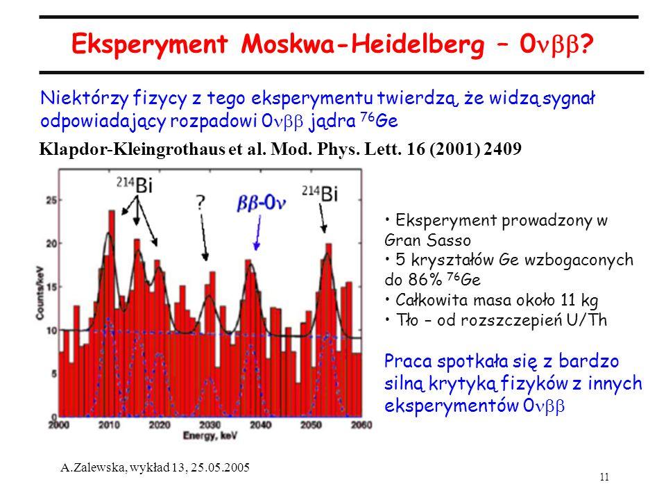 11 A.Zalewska, wykład 13, 25.05.2005 Eksperyment Moskwa-Heidelberg – 0 ? Niektórzy fizycy z tego eksperymentu twierdzą, że widzą sygnał odpowiadający