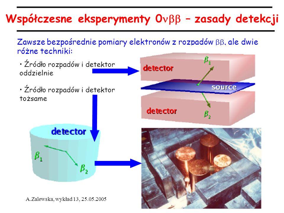 8 A.Zalewska, wykład 13, 25.05.2005 Współczesne eksperymenty 0 – zasady detekcji Zawsze bezpośrednie pomiary elektronów z rozpadów ale dwie różne tech