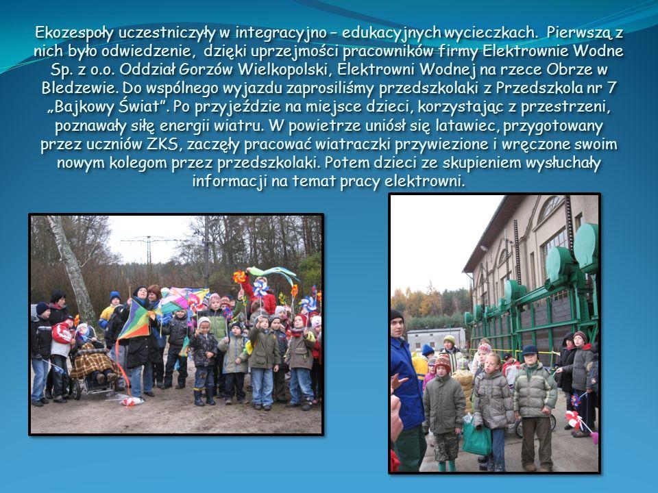 Ekozespoły uczestniczyły w integracyjno – edukacyjnych wycieczkach. Pierwszą z nich było odwiedzenie, dzięki uprzejmości pracowników firmy Elektrownie