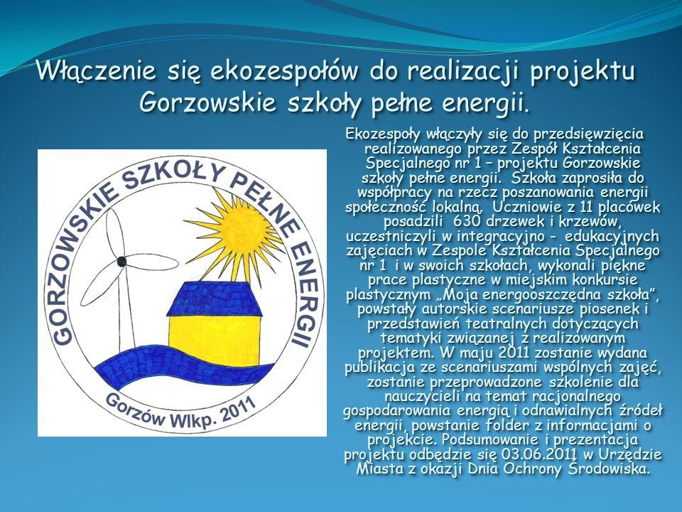 Włączenie się ekozespołów do realizacji projektu Gorzowskie szkoły pełne energii. Ekozespoły włączyły się do przedsięwzięcia realizowanego przez Zespó