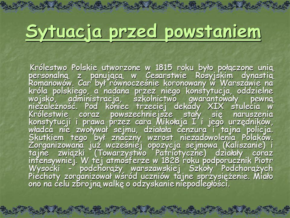 Sytuacja przed powstaniem Królestwo Polskie utworzone w 1815 roku było połączone unią personalną z panującą w Cesarstwie Rosyjskim dynastią Romanowów.