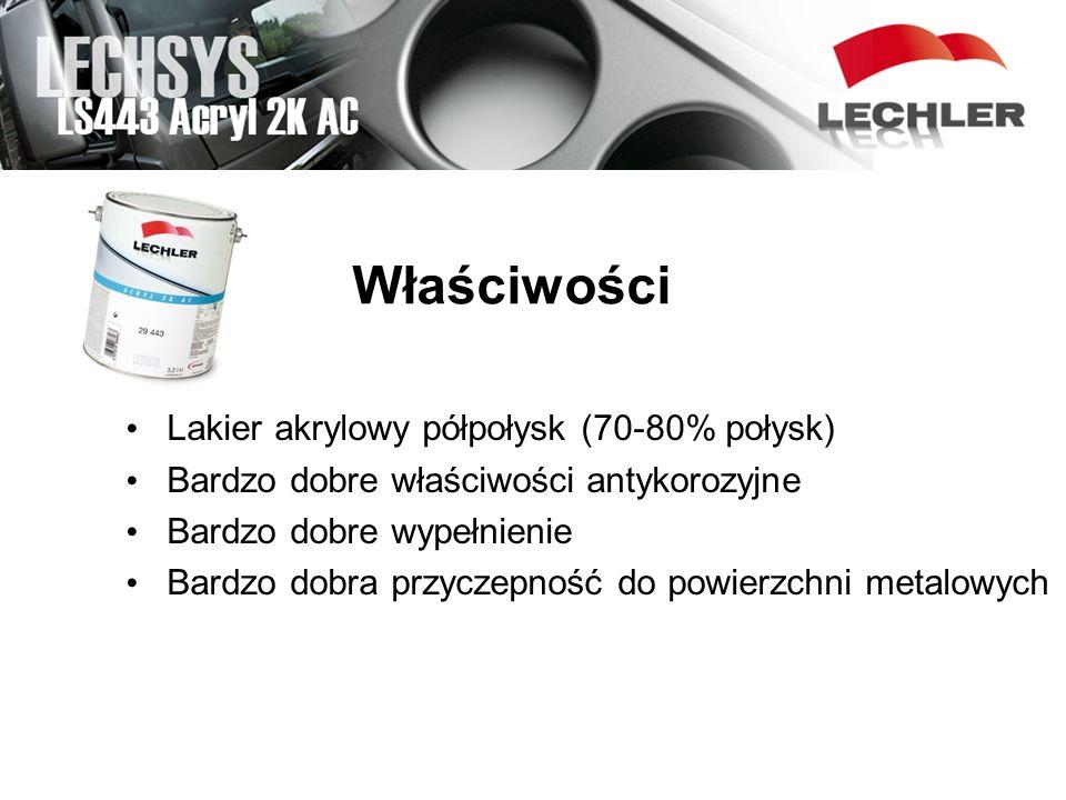 Właściwości Lakier akrylowy półpołysk (70-80% połysk) Bardzo dobre właściwości antykorozyjne Bardzo dobre wypełnienie Bardzo dobra przyczepność do pow