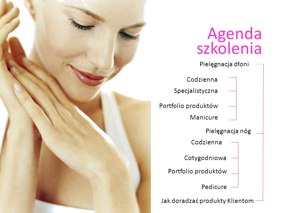 Agenda szkolenia Portfolio produktów Pielęgnacja dłoni Pielęgnacja nóg Codzienna Specjalistyczna Jak doradzać produkty Klientom Manicure Codzienna Cot