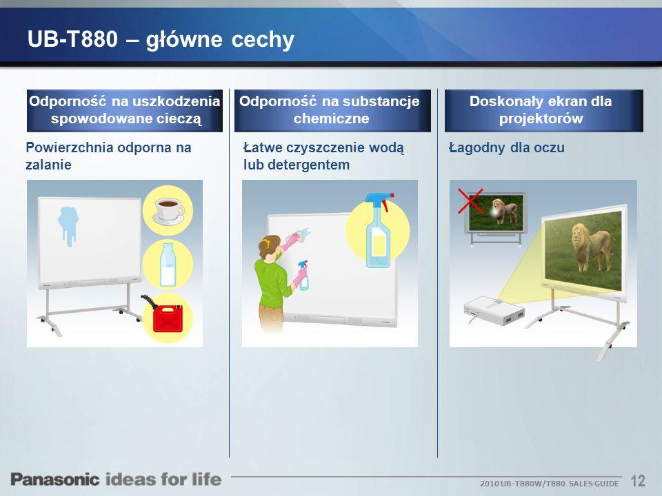12 2010 UB-T880W/T880 SALES GUIDE Powierzchnia odporna na zalanie Odporność na uszkodzenia spowodowane cieczą Łatwe czyszczenie wodą lub detergentem Ł