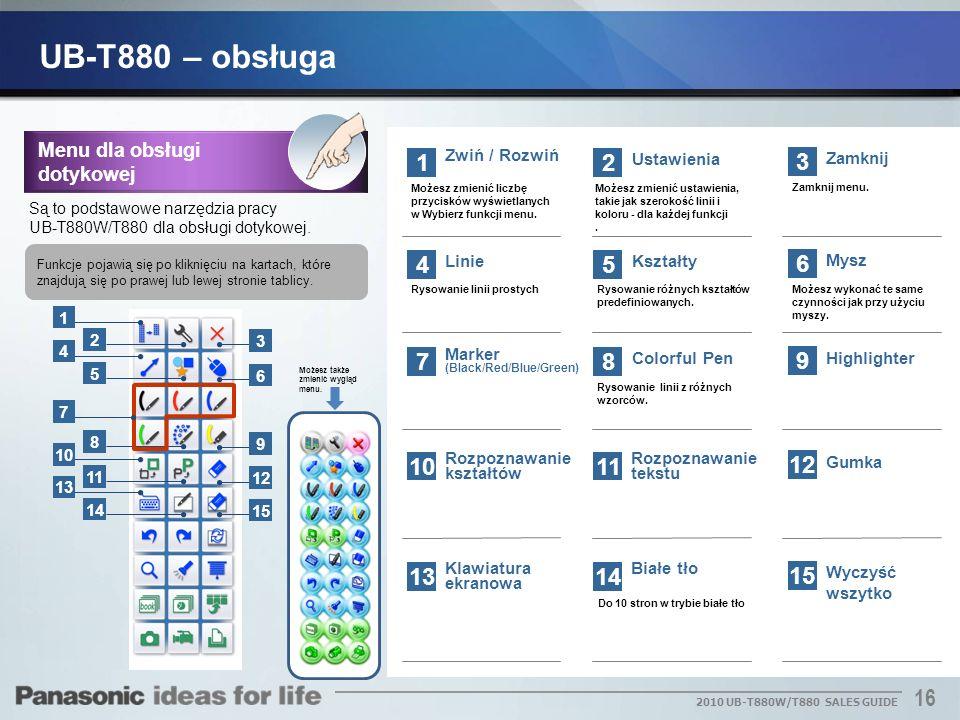 16 2010 UB-T880W/T880 SALES GUIDE 1 Zwiń / Rozwiń Możesz zmienić liczbę przycisków wyświetlanych w Wybierz funkcji menu. Zamknij 2 Ustawienia 2 3 3 Za