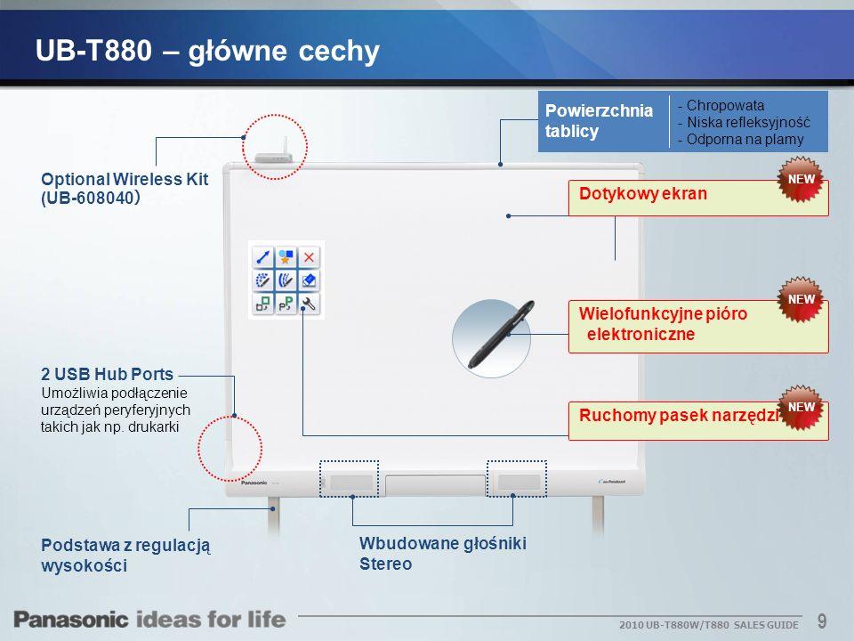 10 2010 UB-T880W/T880 SALES GUIDE UB-T880W UB-T880 Duży ekran łatwo jest zauważyć Obraz wyświetlany na dwóch dużych rozmiarów ekran 83-calowy i 77-calowy staje się bardziej dynamiczny dla uczniów.
