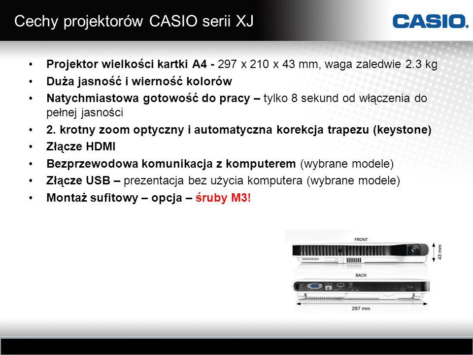 Cechy projektorów CASIO serii XJ Projektor wielkości kartki A4 - 297 x 210 x 43 mm, waga zaledwie 2.3 kg Duża jasność i wierność kolorów Natychmiastow
