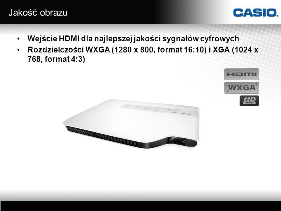 Jakość obrazu Wejście HDMI dla najlepszej jakości sygnałów cyfrowych Rozdzielczości WXGA (1280 x 800, format 16:10) i XGA (1024 x 768, format 4:3)