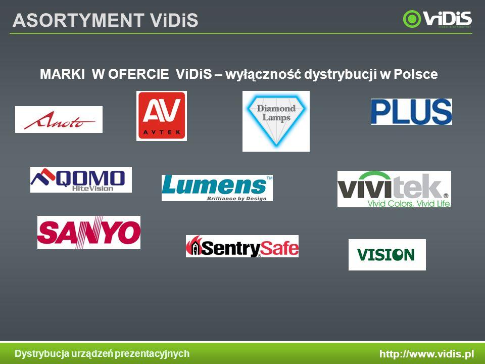 http://www.vidis.pl Dystrybucja urządzeń prezentacyjnych ASORTYMENT ViDiS MARKI W OFERCIE ViDiS – wyłączność dystrybucji w Polsce