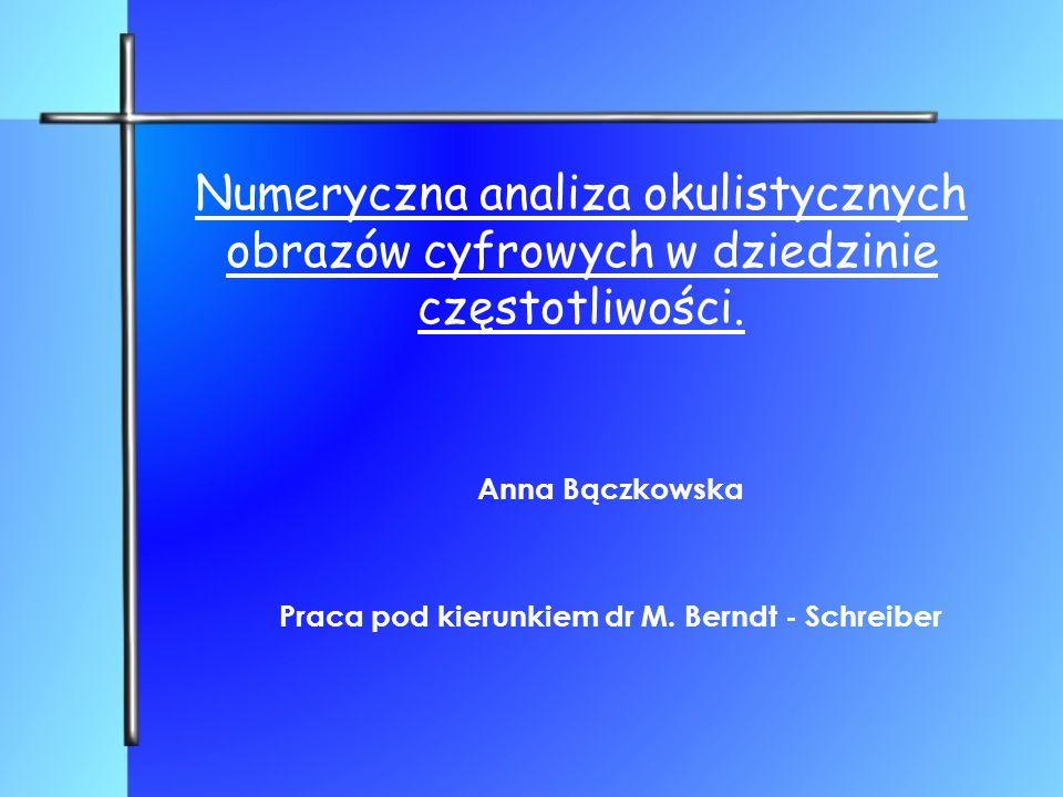 Numeryczna analiza okulistycznych obrazów cyfrowych w dziedzinie częstotliwości. Anna Bączkowska Praca pod kierunkiem dr M. Berndt - Schreiber