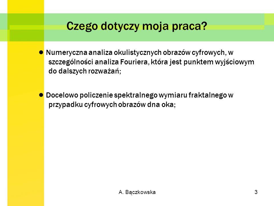A.Bączkowska4 Zagadnienia związane z FFT obrazu cyfrowego.