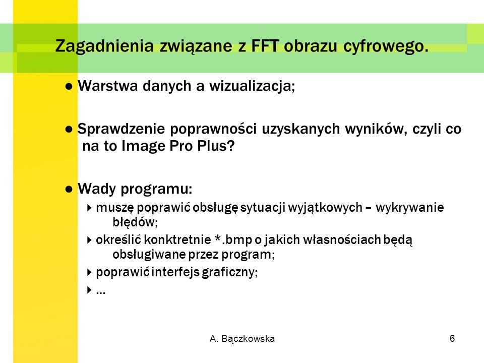 A. Bączkowska6 Zagadnienia związane z FFT obrazu cyfrowego. Warstwa danych a wizualizacja; Sprawdzenie poprawności uzyskanych wyników, czyli co na to